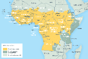 Map 4-13. Yellow fever vaccine recommendations in Africa1
