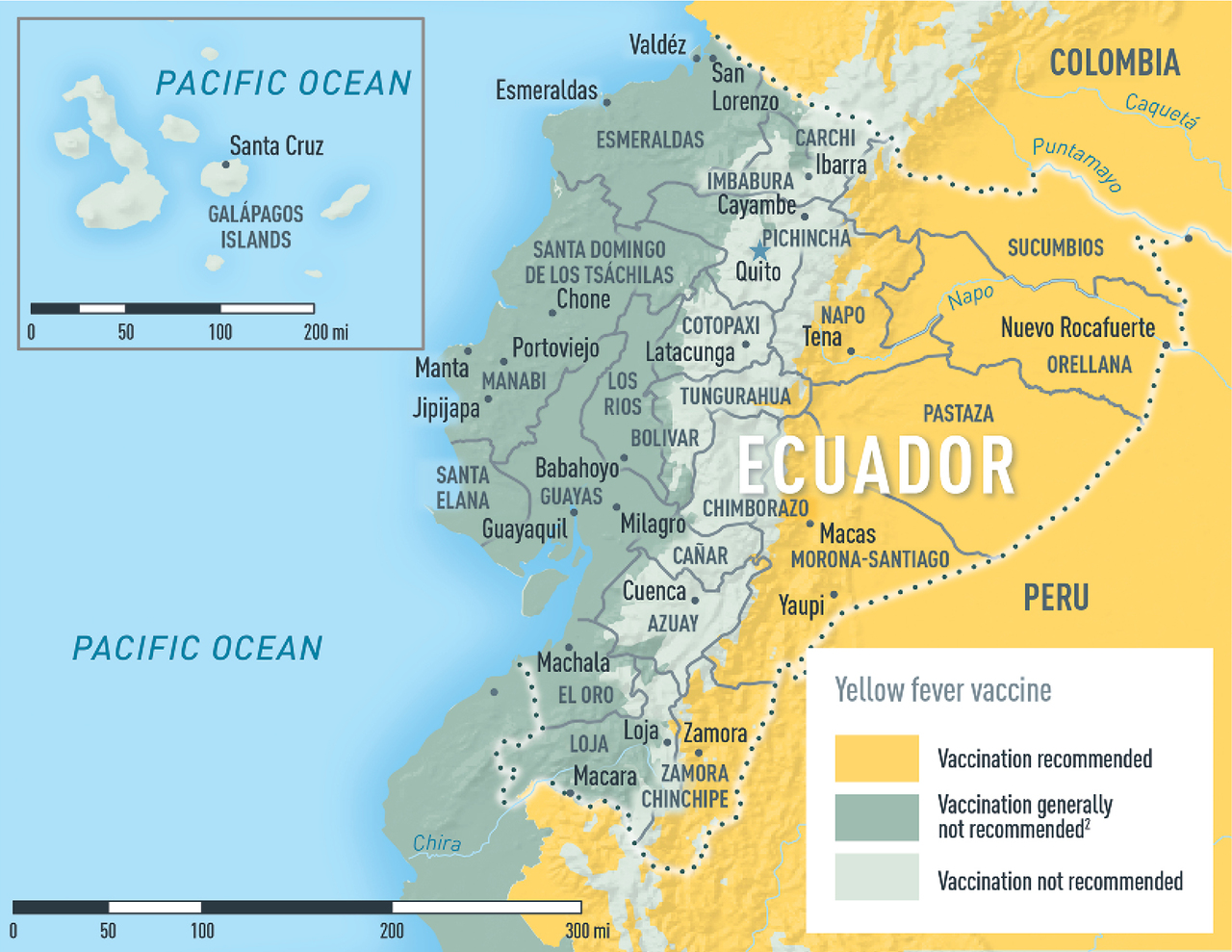 Ecuador Including The Galápagos Islands CDC Yellow Book - Map where is the galapagos islands relative to the us