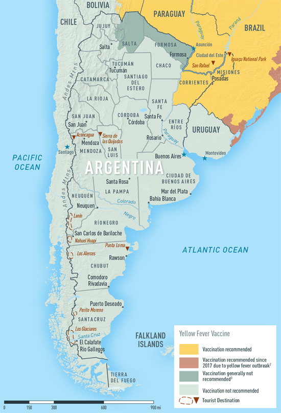 Map 2-1. Yellow fever vaccine recommendations in Argentina1