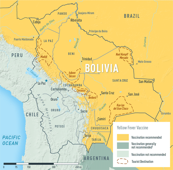 Map 2-2. Yellow fever vaccine recommendations in Bolivia1