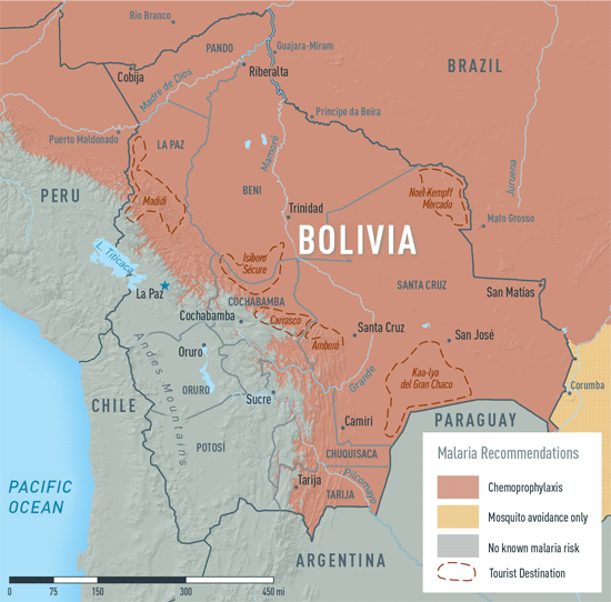 Map 2-3. Malaria in Bolivia