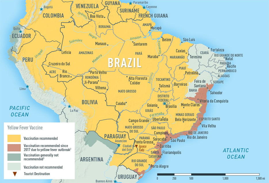Map 2-5. Yellow fever vaccine recommendations in Brazil1