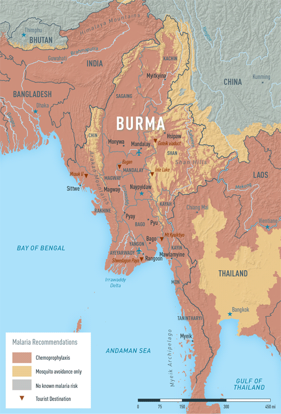 Map 2-7. Malaria in Burma