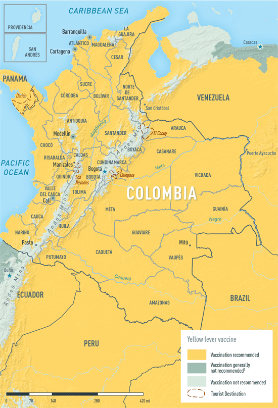 Map 2-9. Yellow fever vaccine recommendations in Colombia1