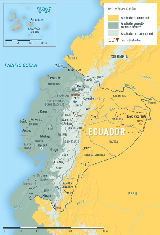 Map 2-11. Yellow fever vaccine recommendations in Ecuador1