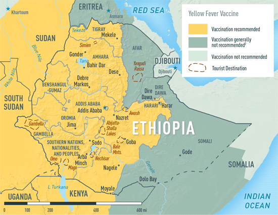 Map 2-13. Yellow fever vaccine recommendations in Ethiopia1