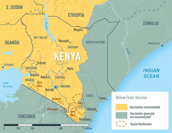 Map 2-16. Yellow fever vaccine recommendations in Kenya1