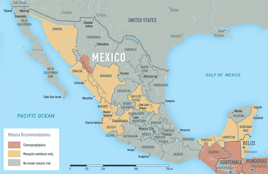 Map 2-18. Malaria in Mexico