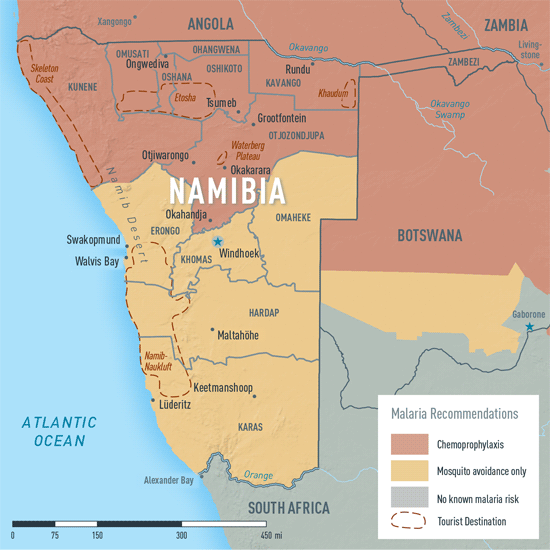Map 2-19. Malaria in Namibia