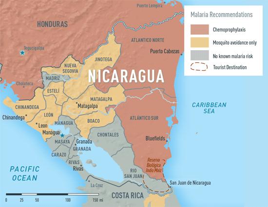 Map 2-20. Malaria in Nicaragua