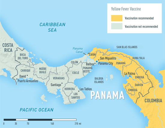 Map 2-21. Yellow fever vaccine recommendations in Panama1