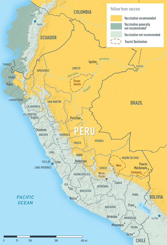Map 2-23. Yellow fever vaccine recommendations in Peru1
