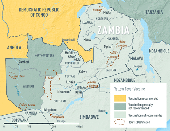 Map 2-29. Yellow fever vaccine recommendations in Zambia1