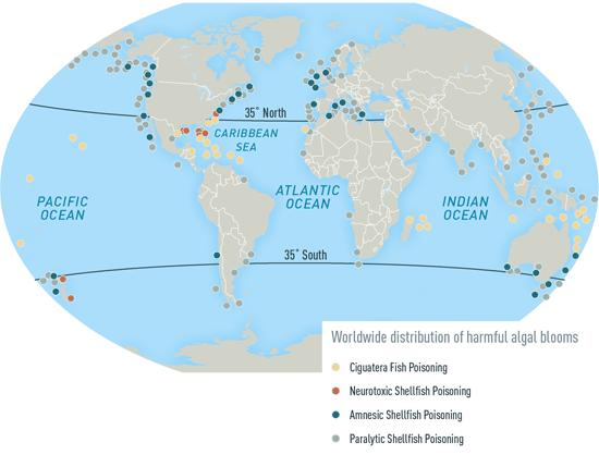 Map 2-30. Areas reporting select harmful algal blooms