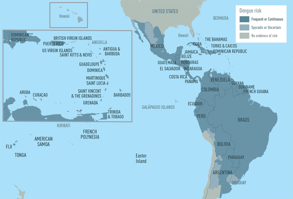 Map 4-1. Dengue risk in the Americas and the Caribbean