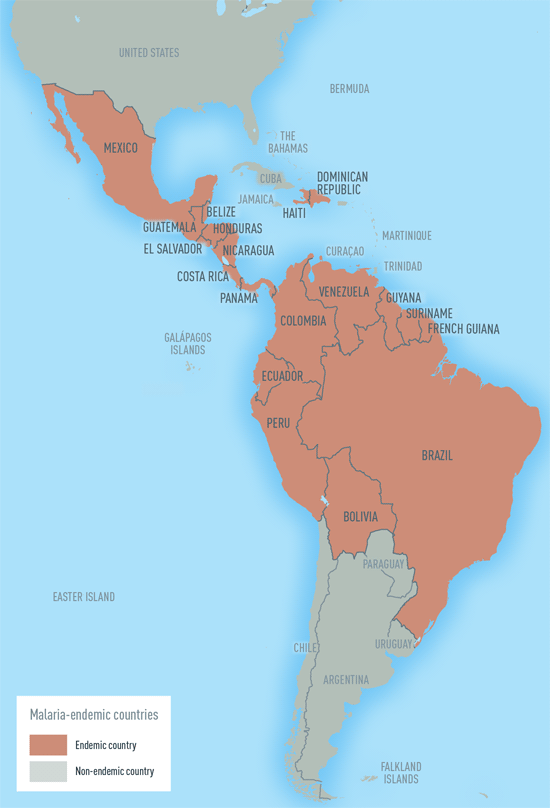 Map 4-8.Malaria-endemic countries in the Western Hemisphere