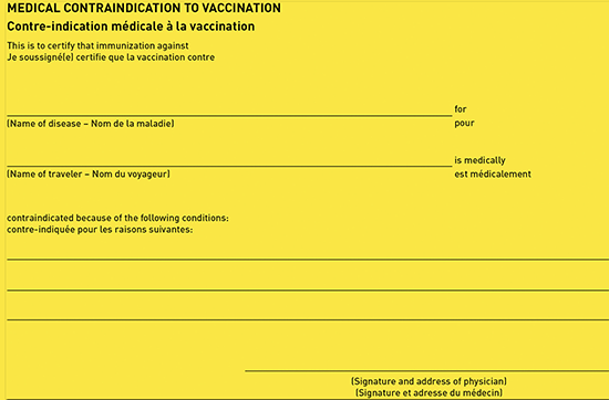 Figure 4-3. Medical Contraindication to Vaccination section of the International Certificate of Vaccination or Prophylaxis (ICVP)