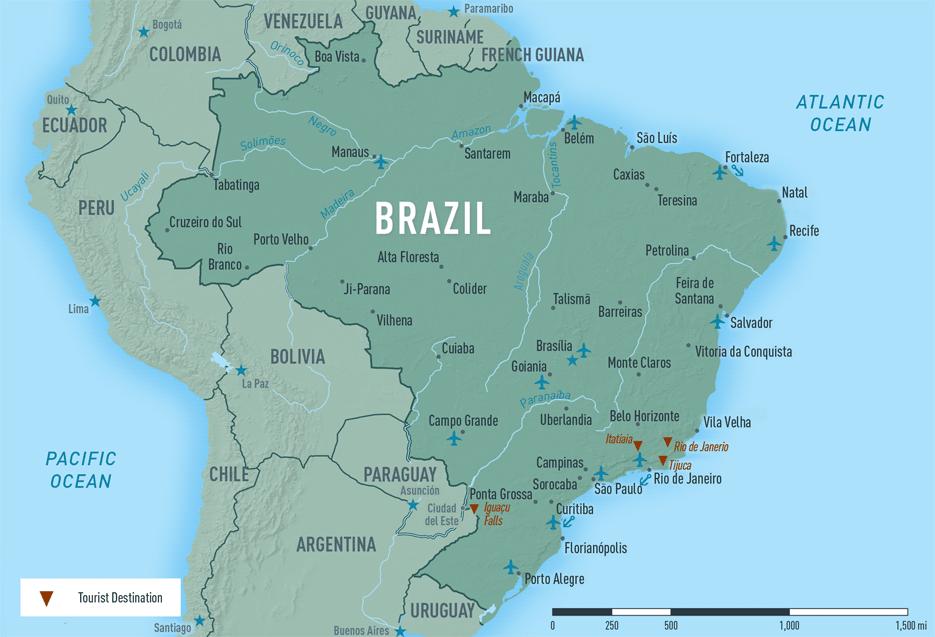 Map 10-5. Brazil destination map