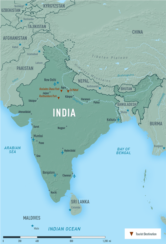 Map 10-13. India destination map